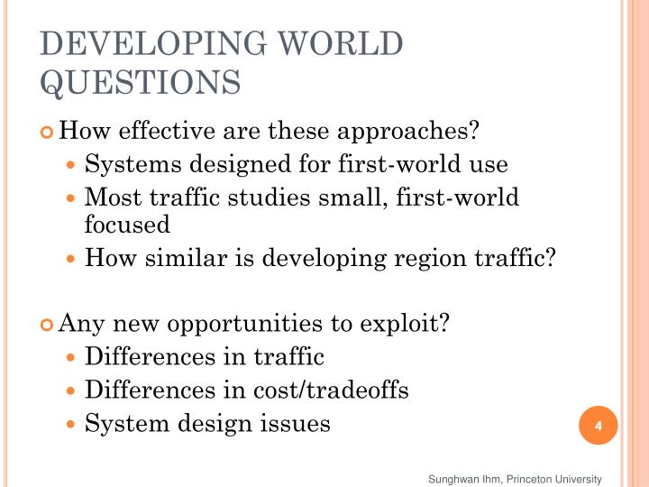 DEVELOPING WORLD QUESTIONS