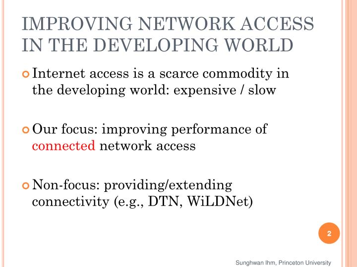Improving network access in the developing world