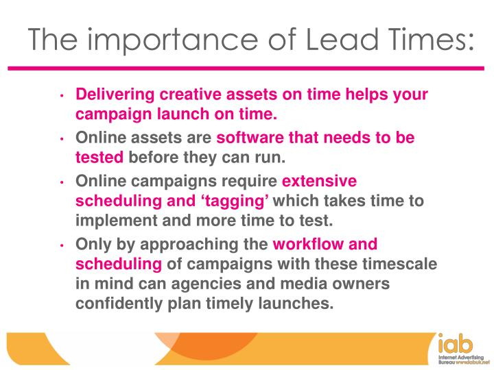 The importance of Lead Times: