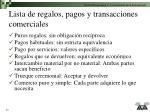 lista de regalos pagos y transacciones comerciales