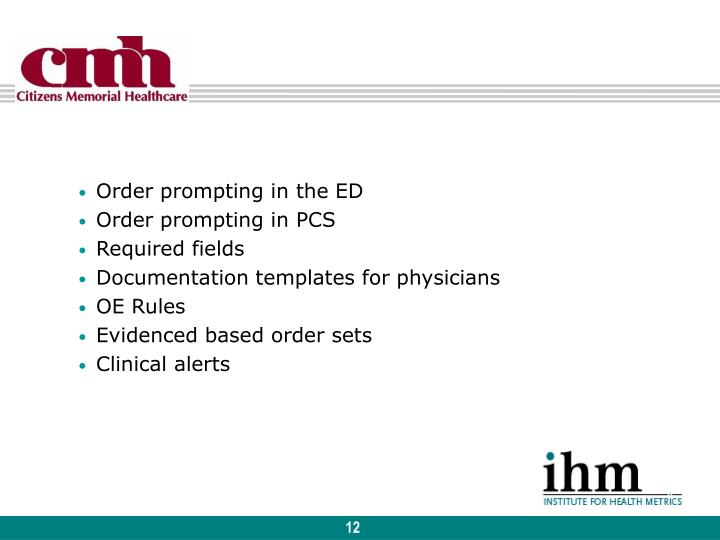 Order prompting in the ED