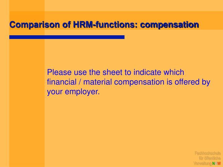 Comparison of HRM-functions: compensation