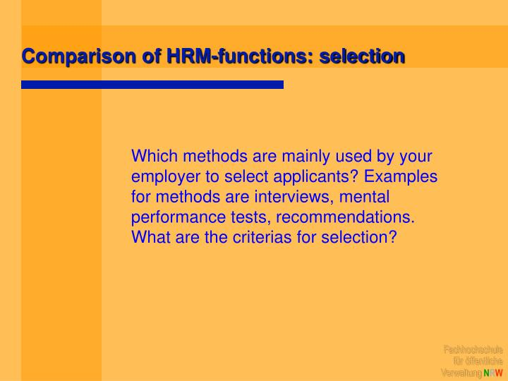 Comparison of HRM-functions: selection