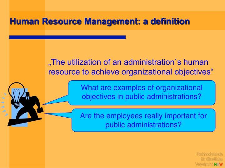 Human Resource Management: a definition