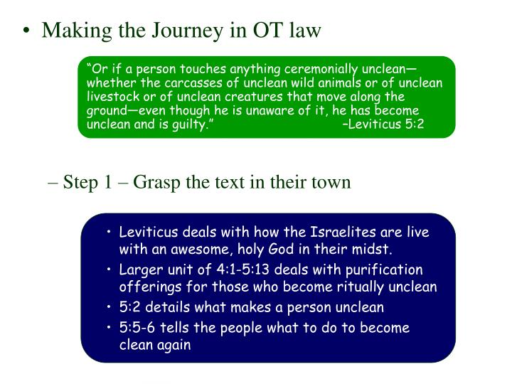 """""""Or if a person touches anything ceremonially unclean—whether the carcasses of unclean wild animals or of unclean livestock or of unclean creatures that move along the ground—even though he is unaware of it, he has become unclean and is guilty."""" –Leviticus 5:2"""