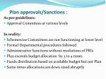 plan approvals sanctions