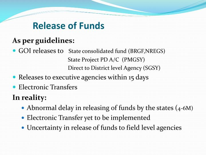 Release of Funds