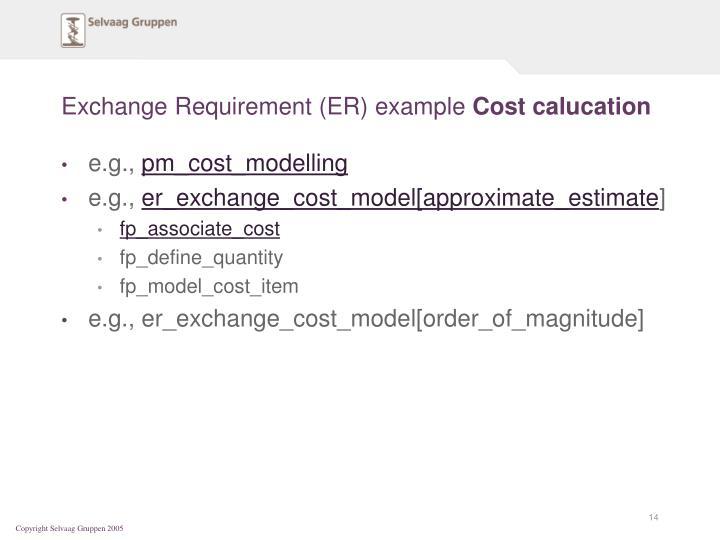 Exchange Requirement (ER) example