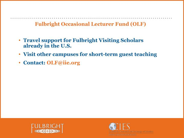 Fulbright Occasional Lecturer Fund (OLF)