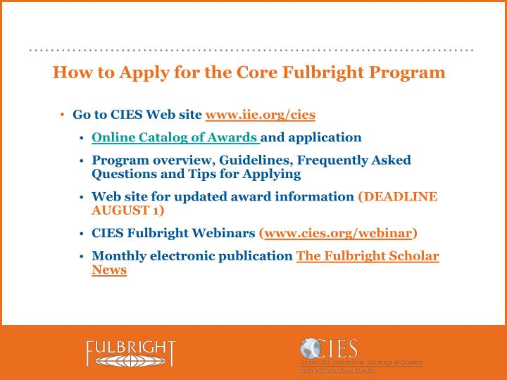 How to Apply for the Core Fulbright Program