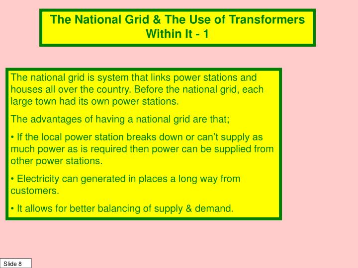 The National Grid & The Use of Transformers Within It - 1