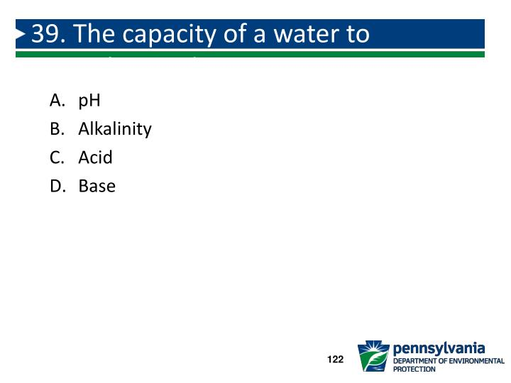 39. The capacity of a water to neutralize acids: