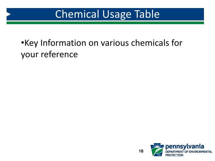 Chemical Usage Table
