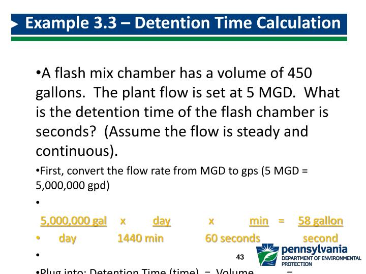 Example 3.3 – Detention Time Calculation