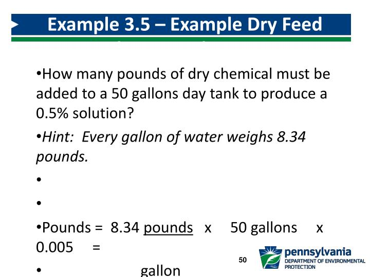 Example 3.5 – Example Dry Feed Solution Tank Mixing