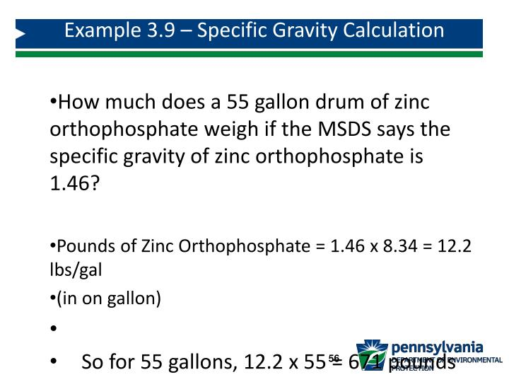 Example 3.9 – Specific Gravity Calculation