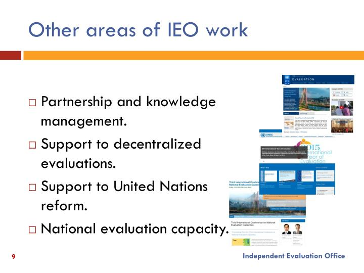 Other areas of IEO work