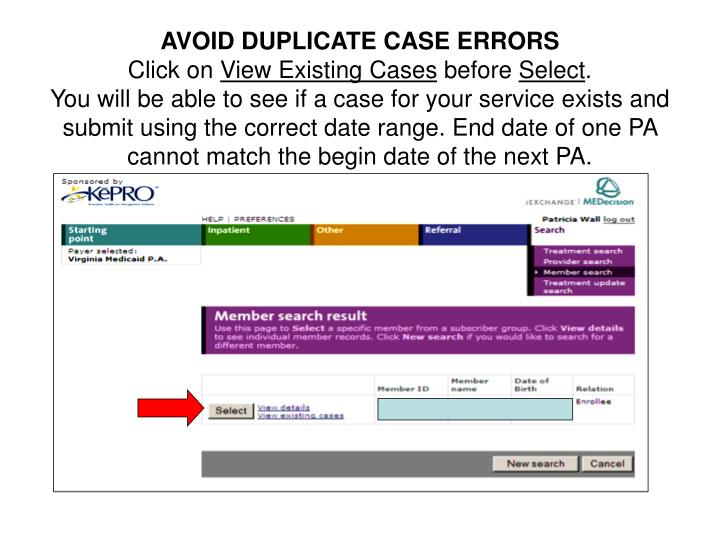 AVOID DUPLICATE CASE ERRORS