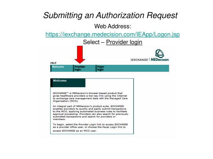 Submitting an Authorization Request