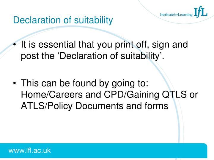 Declaration of suitability