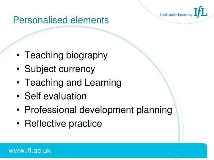 Personalised elements