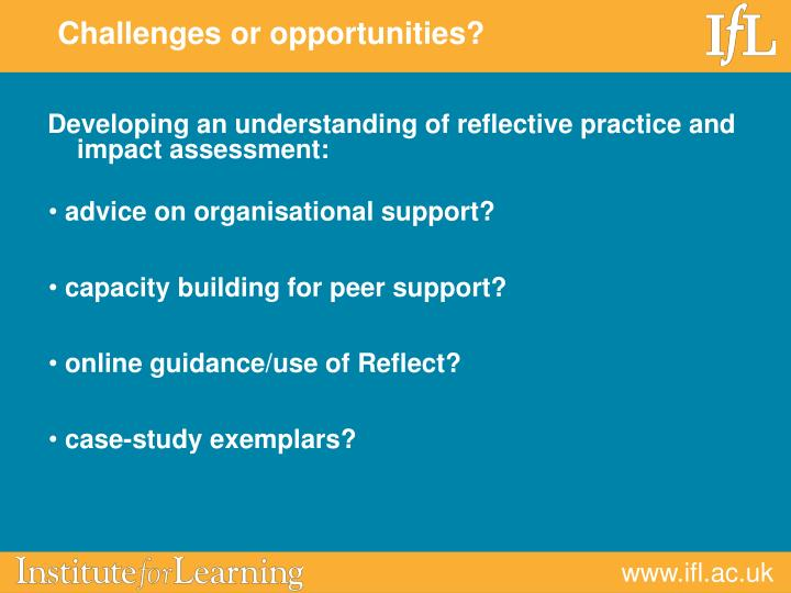 Developing an understanding of reflective practice and impact assessment: