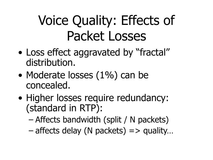 Voice Quality: Effects of Packet Losses
