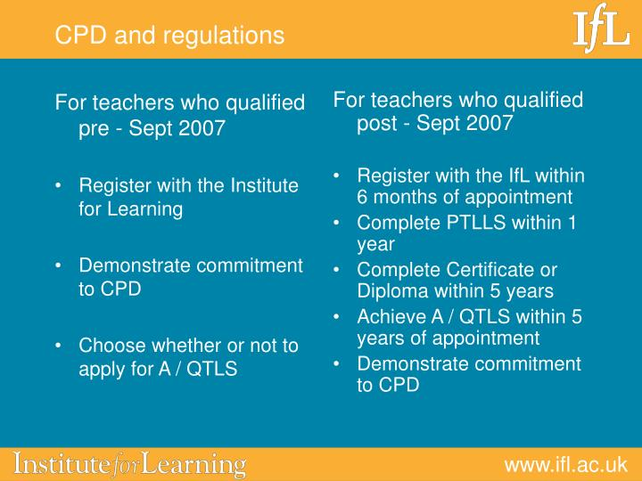 For teachers who qualified pre - Sept 2007