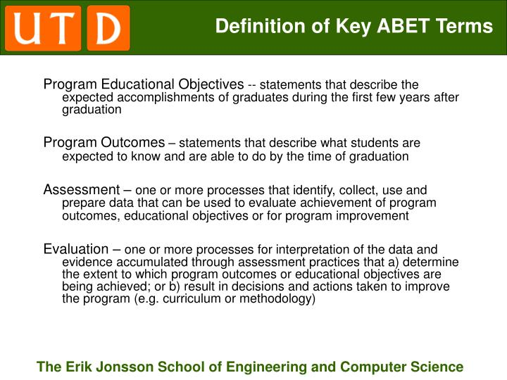 Definition of Key ABET Terms