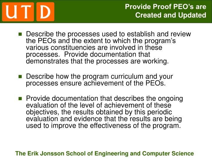 Provide Proof PEO's are