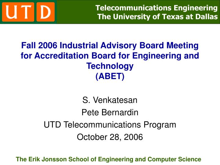 Fall 2006 Industrial Advisory Board Meeting for Accreditation Board for Engineering and Technology