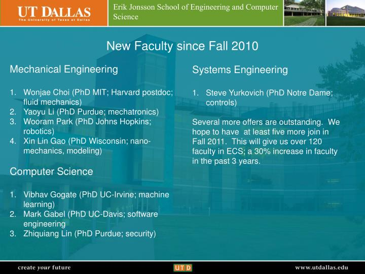 New Faculty since Fall 2010