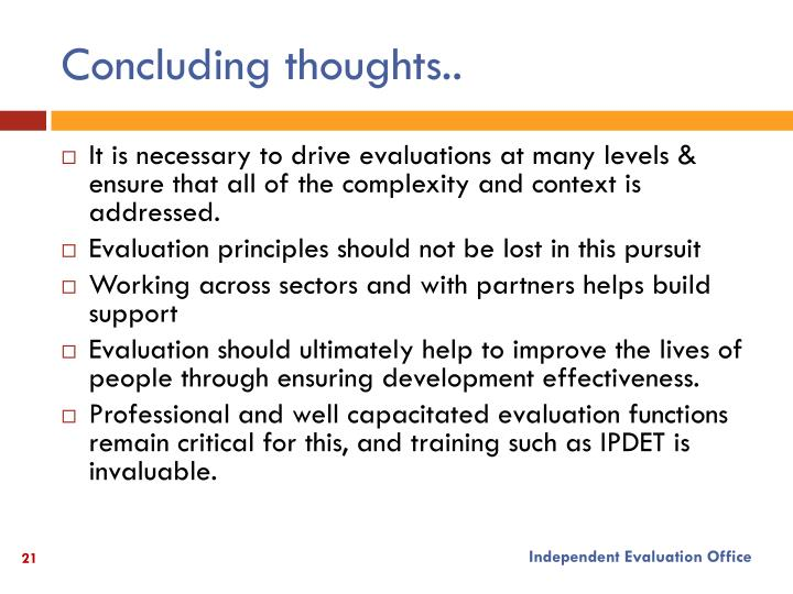 Concluding thoughts..