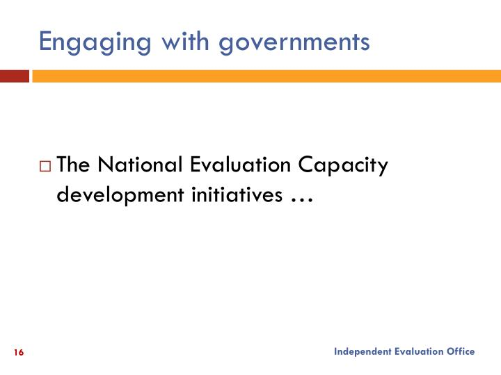 Engaging with governments