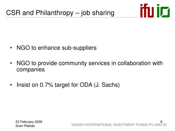 CSR and Philanthropy – job sharing