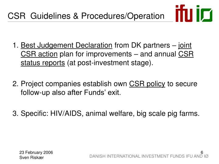 CSR  Guidelines & Procedures/Operation