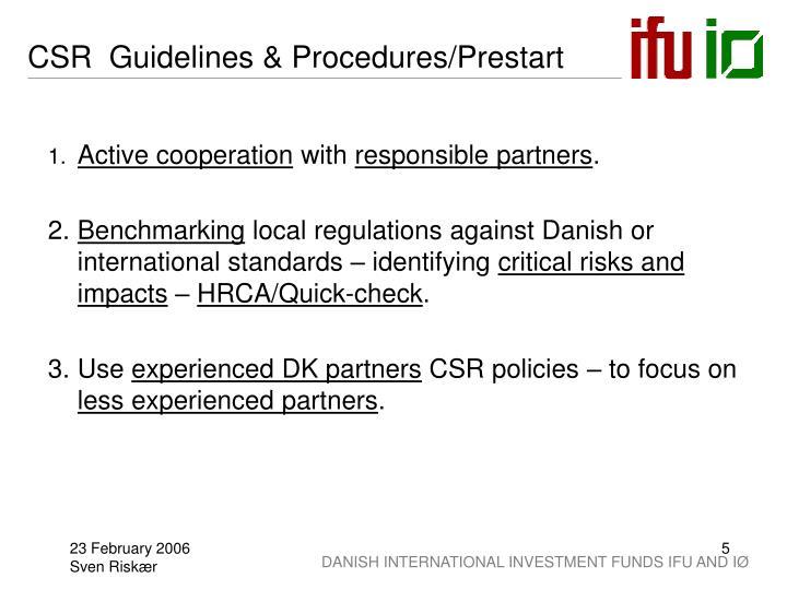 CSR  Guidelines & Procedures/Prestart
