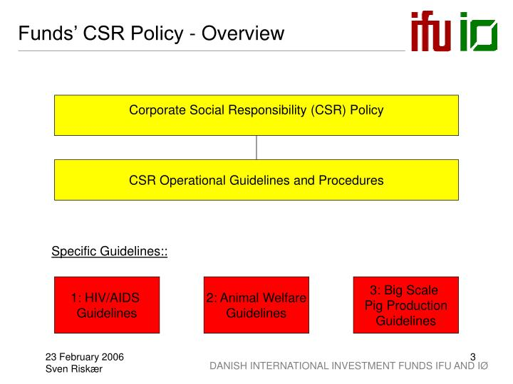 Funds' CSR Policy - Overview