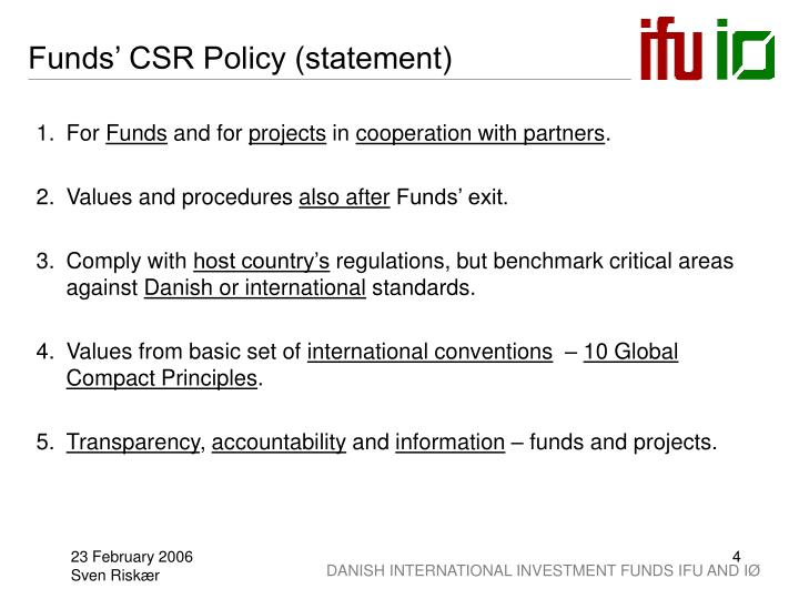 Funds' CSR Policy (statement)