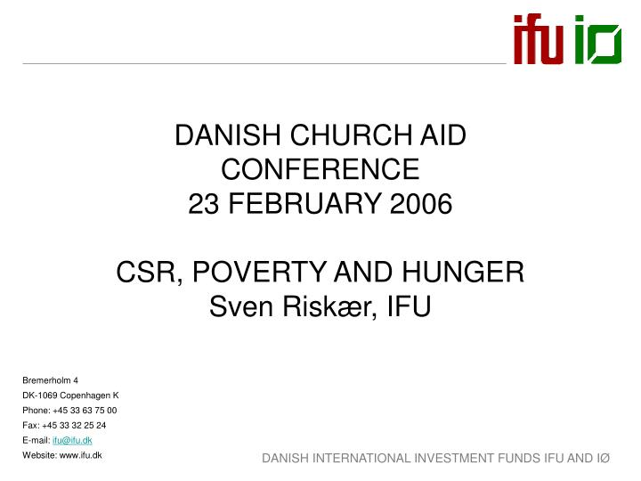 DANISH CHURCH AID CONFERENCE