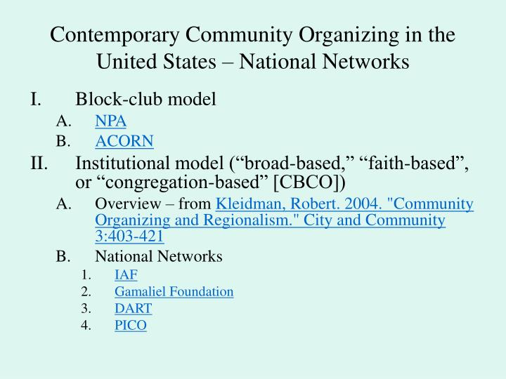Contemporary community organizing in the united states national networks