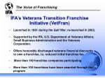 ifa s veterans transition franchise initiative vetfran