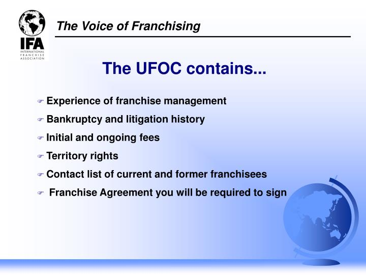 Experience of franchise management