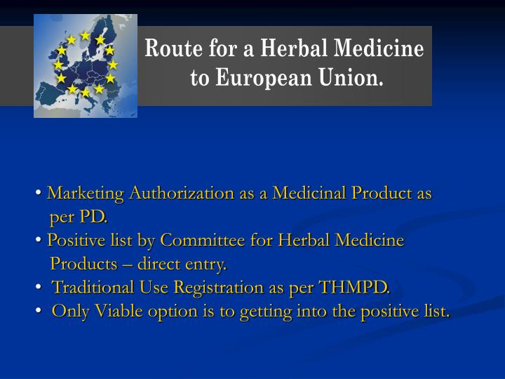Route for a Herbal Medicine