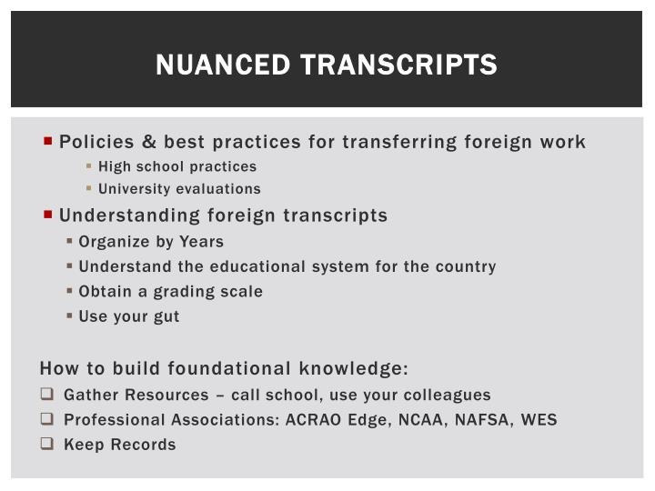 Nuanced Transcripts