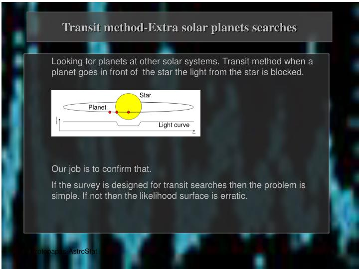 Transit method-Extra solar planets searches
