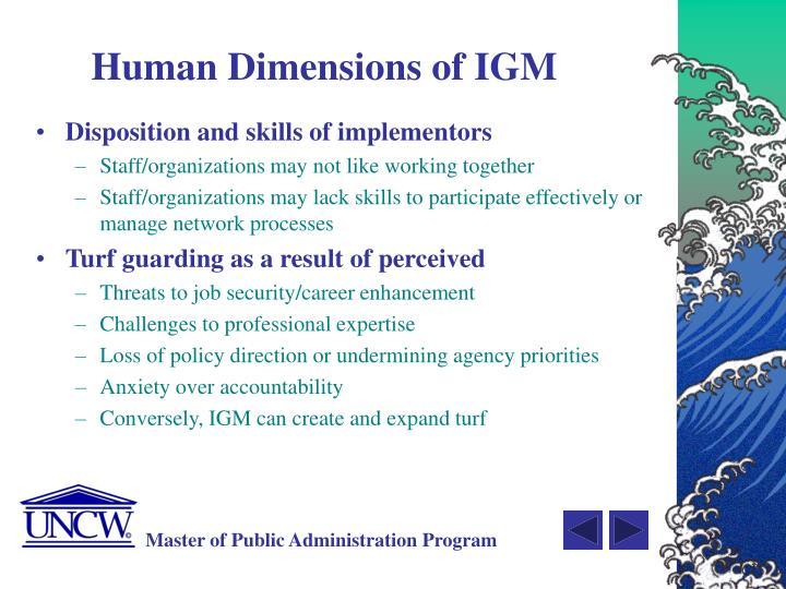 Human Dimensions of IGM