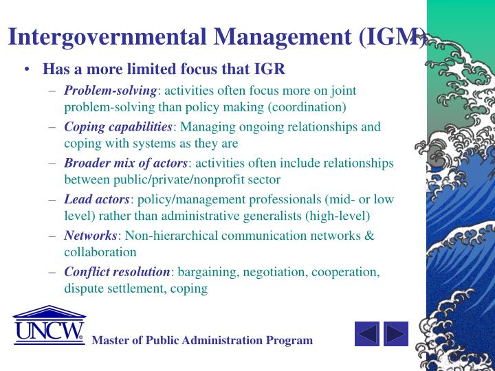 Intergovernmental Management (IGM)
