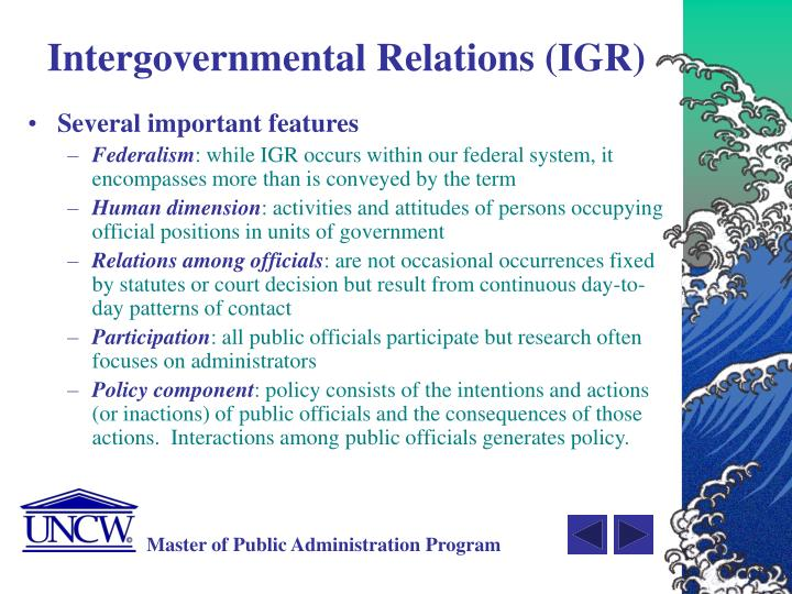 Intergovernmental Relations (IGR)