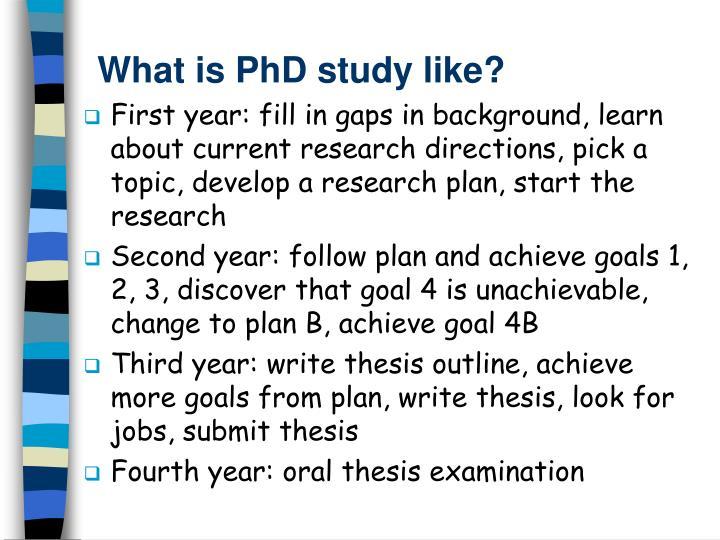 What is PhD study like?